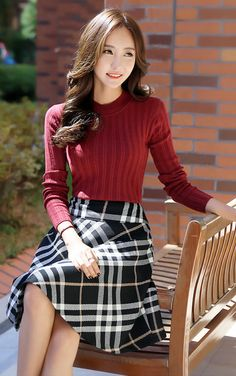 Checked Flare Line Skirt -- $ 41.00
