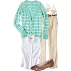 Teacher Outfits on a Teacher's Budget 88: Target: Inspiration for green striped hoodie, tan pants, white top