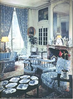 "Drawing Room Verrieres estate with Brunswig & Fils ""Verrieres"" toile"