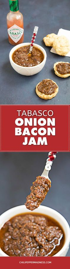 This savory and sweet recipe for bacon jam is a delectable spread, made with plenty of bacon, onions, brown sugar, maple syrup, coffee, vinegar, spicy serrano peppers and original Tabasco hot sauce. Spread it over biscuits or cheesy toasts for an ideal snack.