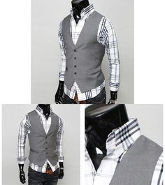 2013 New Men`s Dress Casual Slim Fit Fashion 4 Button Basic Design Gray Vest | eBay