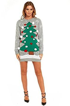 YOU LOOK UGLY TODAY Female Knitted Christmas Sweater Pullover in Tunic Style Dress, Playful Design, Quality Fabric at Amazon Women's Clothing store:
