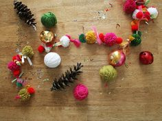 Pom pom and ribbon garland