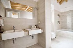 Ideas de #Baño, estilo #Contemporaneo color  #Beige,  #Marron,  #Blanco, diseñado por ADDEC arquitectos  #CajonDeIdeas