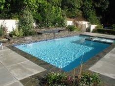 Awesome Pool Design With Blue Tile Floor Ideas For Swimming Pool Designs For Small Yards - Small Backyard Pools, Pool Designs For Small Yards. Inground Pool Designs, Backyard Pool Designs, Swimming Pool Designs, Backyard Ideas, Pools For Small Yards, Small Swimming Pools, Small Backyard Landscaping, Swimming Pools Backyard, Oberirdische Pools