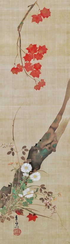 Attributed to: Suzuki Kiitsu, (1796 - 1858). Maple and Flowers. Japan. second quarter of 19th century Hanging scroll, ink and color on silk. Edo period (1615–1868).