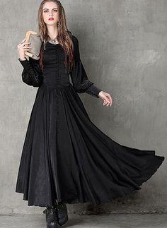 1f5cbd57fd Polyester Solid Long Sleeve Maxi Vintage Dresses (1015858)   floryday.com