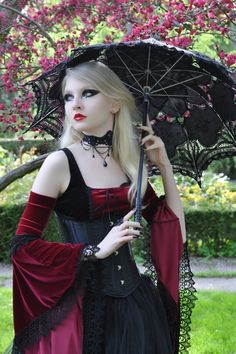 Gothic Girl Long Blond Hair Parasol