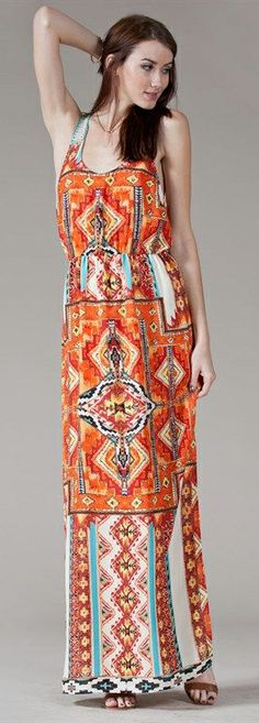 Love this boho patterned maxi dress.