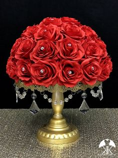 RED Rose Arrangement with PREMIUM Real Touch Silk Roses and RHINESTONE GEMS. Red Wedding Centerpiece. Red Centerpiece. Floating Pomander. PICK ROSE COLOR! 16 SIZE PICTURED With RHINESTONE GEMS IN Roses. GOLD STANDS With CRYSTALS Sold Separately.  These beautiful roses have a real feel and look to