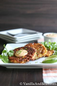 Roasted Corn Zucchini Fritters with Chipotle Lime Cream | VanillaAndBean.com