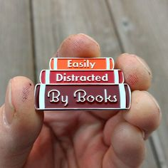book Pin - book enamel pin - Easily Distracted By Books lapel pin - hat pin - enamel pins - book pins - lapel pins - gifts for readers Bag Pins, Book Jewelry, Literary Gifts, Gifts For Readers, Cool Pins, Pin And Patches, Metal Pins, Book Lovers Gifts, Up Girl