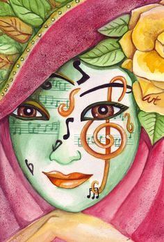365ilustraciones: Martes de Carnaval Mask Drawing, Aesthetic Painting, Carnival Masks, Venetian Masks, Modern Art Paintings, Painting People, Masks Art, Disney Drawings, Art Plastique