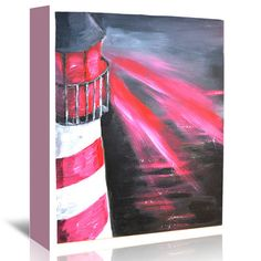 East Urban Home Lighthouse Painting Print on Wrapped Canvas Size: