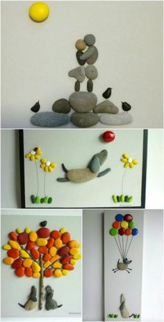 Cool DIY Idea: Painting out of River Pebbles Stone Crafts, Rock Crafts, Diy And Crafts, Crafts For Kids, Crafts With Rocks, Indoor Crafts, Diy Projects With Rocks, Kids Diy, Decor Crafts