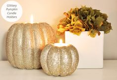 Photo: Kathleen Kennelly Ullman // Featured: The Knot Blog  If i have an october wedding this would be a cute way to incorperate pumpkins and the tealight candle!