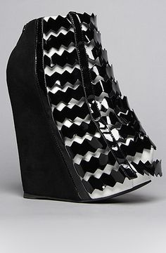 """Probably the weirdest """"shoe/ boot"""" I've ever seen--The Nokea Shoe in Black and White by Jeffrey Campbell #shoes"""