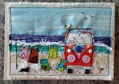 crafts, fairy gardens, fabric and paper cards Fabric Postcards, Fabric Cards, Paper Cards, Freehand Machine Embroidery, Free Motion Embroidery, Cushion Embroidery, Embroidery Art, Applique Wall Hanging, Watercolor Quilt