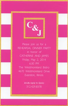 Preppy Pink and Gold Rehearsal Invitation by Barefoot Creations