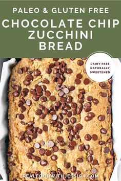 This amazing Paleo Chocolate Chip Zucchini Bread is so moist, packed with chocolate chips and easy to make! Gluten free, dairy free, and naturally sweetened- a healthier version that everyone will love! Best Gluten Free Recipes, Real Food Recipes, Great Recipes, Chocolate Chip Zucchini Bread, Paleo Chocolate Chips, Paleo Dessert, Dessert Recipes, Desserts, Grain Free