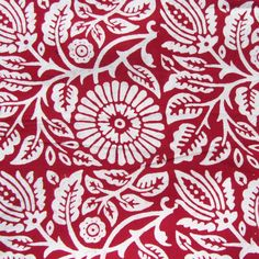 Scarlet Floral Organic Fabric