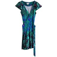 Pre-owned Colourful wrap dress ($58) ❤ liked on Polyvore featuring dresses, black, wrap dress, peacock dress, peacock print dress, matthew williamson dresses and peacock feather dress