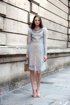 { via Street Style Aesthetic } silvery light blue short, long sleeved lace dress Outfit Para Baby Shower, Pretty Outfits, Pretty Dresses, Vestidos Para Baby Shower, Outfits Fiesta, Facon, Street Chic, Catwalks, Her Style