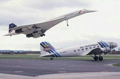 Concorde and a Dakota. Two aviation classics.