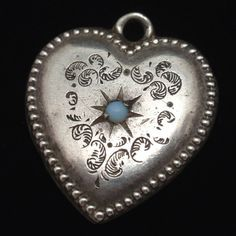Puffy Heart Charm Vintage Sterling Silver Opal Beaded Edge Chasing Engraved WC | eBay
