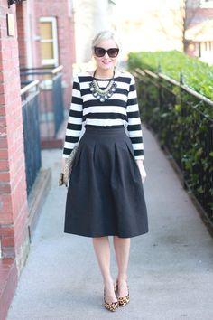 full midi skirt H&M skirt - leopard print next shoes - stripes Dunne stores top