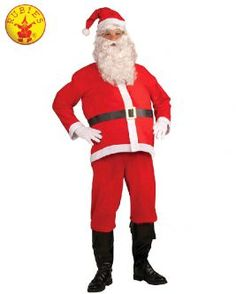 Adult Christmas Santa Claus Suit Costume Red Vest Belly Stuffer