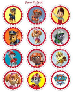 PAW PATROL Craft Circles  - Dog and Puppy Instant Download Printable Cupcake Toppers, Stickers, Party Supplies 1 in,1.5, 2 in, and 2.5 in