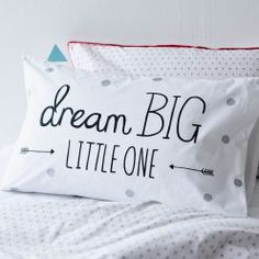 Adairs Kids Text Pillowcase Dream Big, kids pillowcase, pillowcases for kids