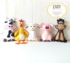 Farm Animal Softie Patterns, Felt Stuffed Barnyard Animal Patterns, Plush Cow, Chicken, Sheep, Pig & Horse, Easy Hand Sewing by LittleSoftieShoppe on Etsy https://www.etsy.com/listing/87917245/farm-animal-softie-patterns-felt-stuffed
