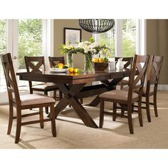 7 Piece Solid Wood Dining Set with Table and 6 Chairs (Dark Hazelnut), Brown, Size 7-Piece Sets