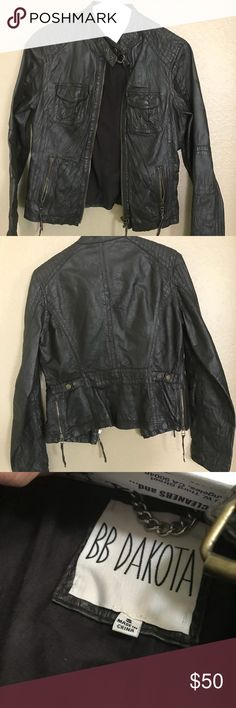 BB Dakota Leather Jacket Moto leather jacket with front upper pockets and zip pockets and side zippers  BB Dakota  Used but in great condition and still has that great leather smell ❤️  It's a really dark brown leather. No torn seams. Free People pants available in my closet BB Dakota Jackets & Coats