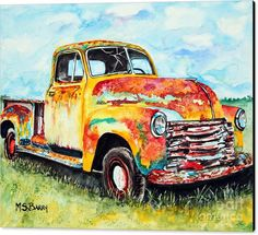 Old Truck Canvas Print featuring the painting Rusty Old Truck by Maria Barry