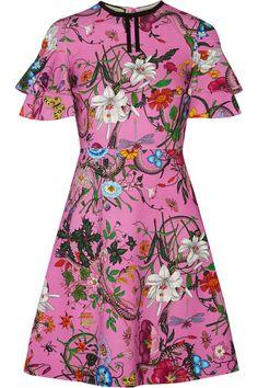 GUCCI Ruffled Printed Stretch-Jersey Mini Dress. #gucci #cloth #dresses