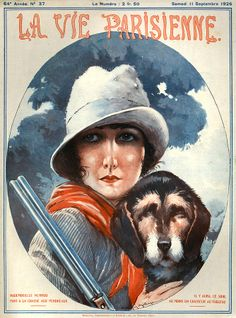 Maurice Millière Lady with hunting dog & gun(1871–1946). La Vie Parisienne, 11 Septembre 1926. [Pinned 6-ii-2015]