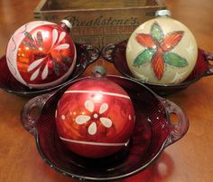 Vintage Glass Ornaments Red Poinsettia Hand Painted by mshedgehog