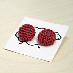 Knit Earrings in Pink Wool by SheepishAccessories on Etsy