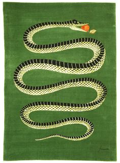 'Snake with apple in its mouth' - a rug! in Elle Decor magazine. It's produced by Roubini Rugs and is a Piero Fornasetti design. Year Of The Snake, Piero Fornasetti, Textiles, Art Furniture, Furniture Design, Elle Decor, Rugs On Carpet, Art Photography, Illustration Art