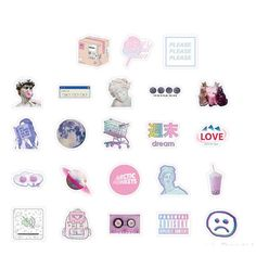 Vaporwave vibe stickers with pastels Perfect as laptop stickers Contains 46 pcs/box Sticker box is Tumblr Stickers, Phone Stickers, Kawaii Stickers, Cute Stickers, Cartoon Stickers, Vaporwave, Scrapbook Stickers, Diy Scrapbook, Printable Stickers
