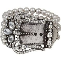 Heirloom Finds Bold Belt Buckle Cuff Bracelet with Crystals in Matte Oxidized Silver Tone