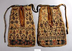 These are my favourite pockets from the collection. They were made in Llandysul, mid 1800s. (Elen Phillips Curator St. Fagans Wales)