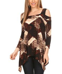 Take a look at this Karen T. Design Brown Abstract Cutout Sidetail Tunic - Plus Too today!
