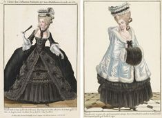 "Left, a <a href=""http://www.mfa.org/collections/object/gallerie-des-modes-et-costumes-fran%C3%A7ais-37e-cahier-des-costumes-fran%C3%A7ais-29e-suite-dhabillemens-%C3%A0-la-mode-en-1781-nn211-grand-deuil-de-cour-351616"">magazine illustration</a> from 1781 shows an outfit for court mourning. Right, a so-called ""<a…"