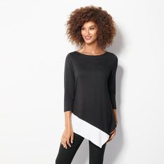 Asymmetric Colorblock Top in Women's. Avon. Dress it up or down—the ultimate in versatility. This colorblock design is made of flowing jersey that drapes beautifully. Three-quarter sleeves provide perfect coverage and year-round comfort. Available in S-3X NEW! Regularly $24.99.  #CJTeam #Avon #Womens #Style #Sale #Fashion #New #C4 #Top #Colorblock #Asymmetric FREE shipping with any $40 online Avon purchase.  Shop Avon fashion online @ www.TheCJTeam.com
