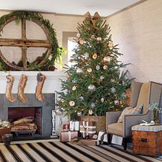 Rustic-Casual Christmas featuring our Chocolate Ticking Woven Cotton Rug
