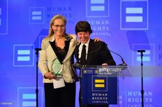 Honoree Meryl Streep and Filmmaker Ken Burns speak onstage during the 2017 Human Rights Campaign Greater New York Gala at Waldorf Astoria Hotel on February 11, 2017 in New York City.
